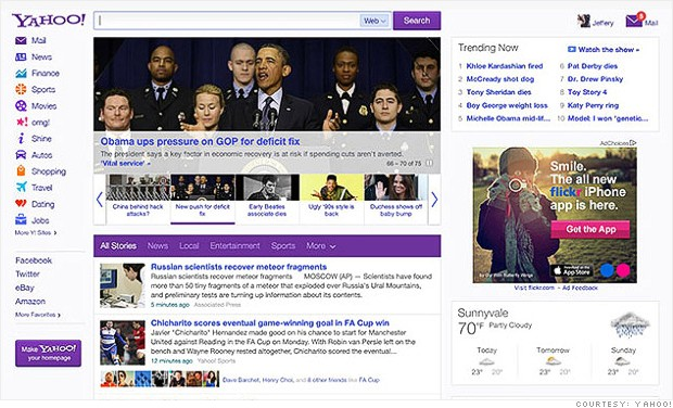 Yahoo's new homepage began rolling out to users on Wednesday.