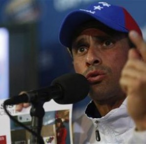 Venezuela's opposition leader Capriles speaks during a news conference in Caracas