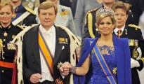 Dutch King Willem-Alexander and his wife Queen Maxima arrive at the Nieuwe Kerk church in Amsterdam