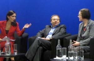 """The BBC's Babita Sharma (far left) discusses findings from the """"World Travel Market global trends report 2013"""" with Euromonitor International's Angelo Rossini and Caroline Bremner. (Photo: Patrick Mayock)"""