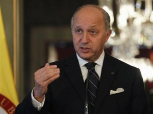 France's Foreign Affairs Minister Laurent Fabius attends a news conference after a bilateral meeting at San Carlos Palace in Bogota