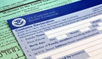 Customs forms at border point of entry (USA)