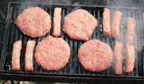 Raw Meat On A Barbecue Grill
