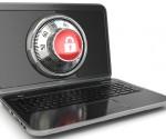 Internet Security.  Laptop and safe lock. 3d