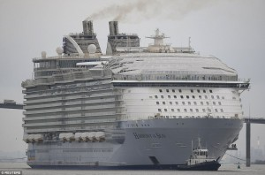 Worlds Largest Cruise Ship Sets Sail From France With No - Biggest cruise ship ever compared to titanic