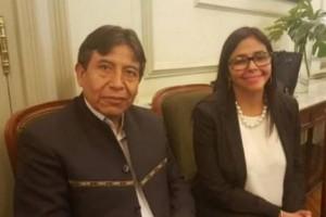 Venezuela Foreign Minister Delcy Rodriguez (R) and Bolivian Foreign Minister David Choquehuanca.