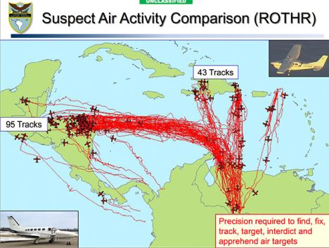The image above depicts a recent relocatable over the horizon radar (ROTHR) mapping of drugs flights. Conspicuous by their absence from detected suspicious flights on this map are the islands of the Eastern Caribbean
