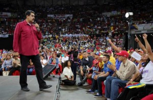 Venezuela's President Nicolas Maduro speaks during a gathering in support of him and his proposal for the National Constituent Assembly in Caracas