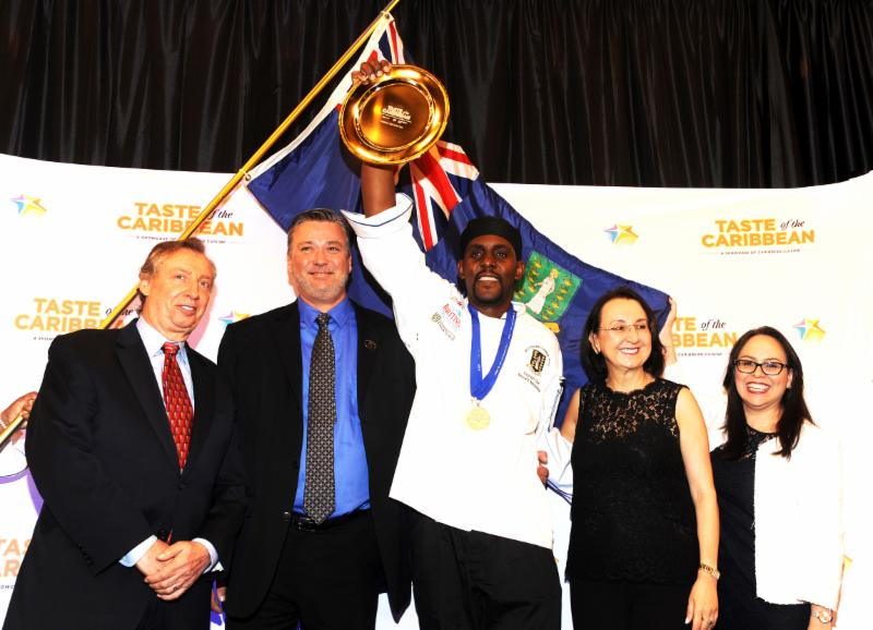 Chef of the Year, Kenneth Molyneaux of the British Virgin Islands with Caribbean Hotel and Tourism Association and Taste of the Caribbean officials