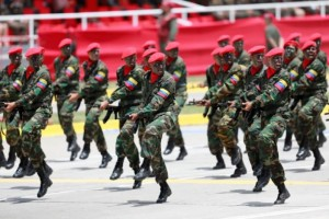 Soldiers march during a military parade to celebrate the 206th anniversary of Venezuela's independence in Caracas