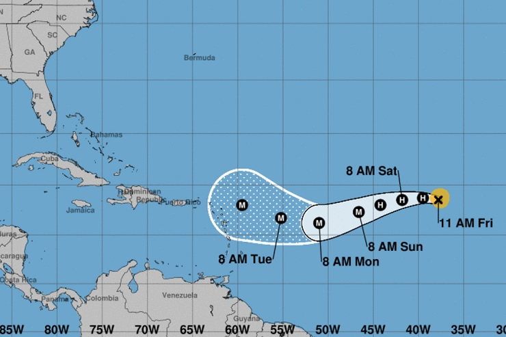 Hurricane Irma reaching the Caribbean