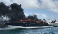 yacht on fire