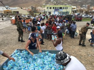 K1 volunteers at mass distributions for water